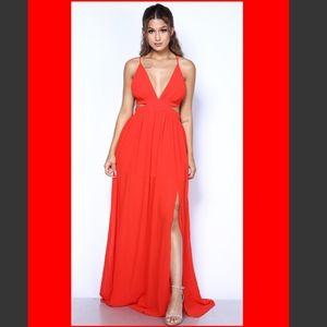 Crisscross Open Back M-Slit Red Maxi Dress NWT